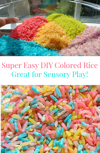 Super Easy DIY Rainbow Colored Rice - Great for Sensory Play!