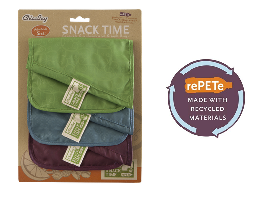 Reusable rePETe snack sandwich bags