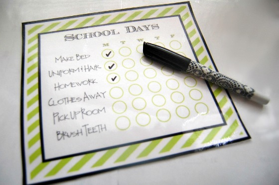 Back to School Chore List printed on my HP