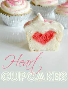 Heart in the Middle Cupcakes - heart cupcakes