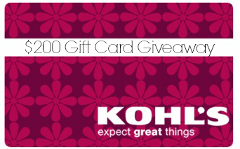 $200 Kohl's Gift Card Giveaway