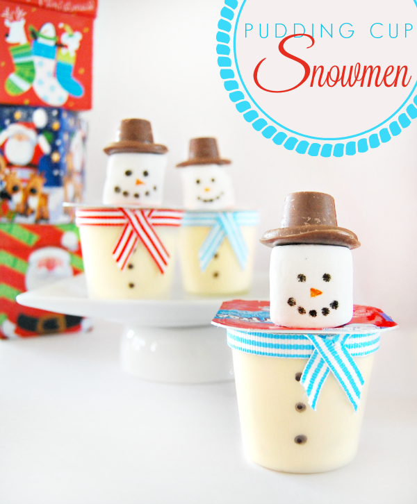 Easy Pudding Cup Snowmen