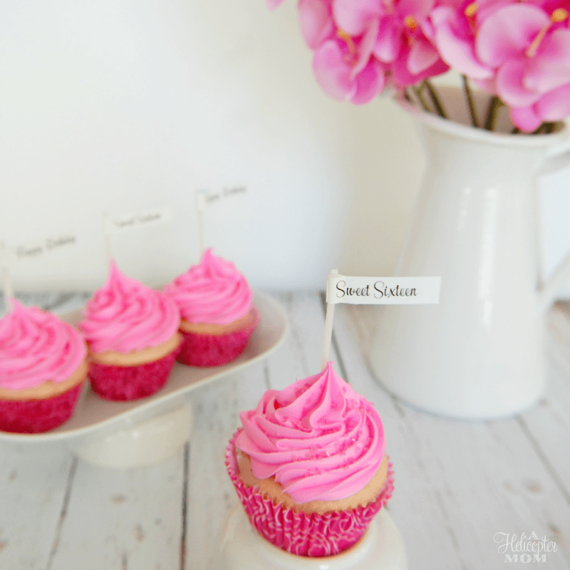 Sweet Sixteen Cupcakes - Custom Fonts Labels