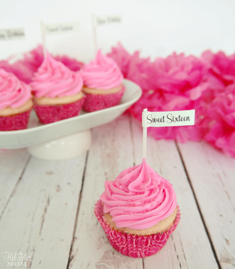 Sweet Sixteen Cupcakes with DIY Customized Cupcake Toppers