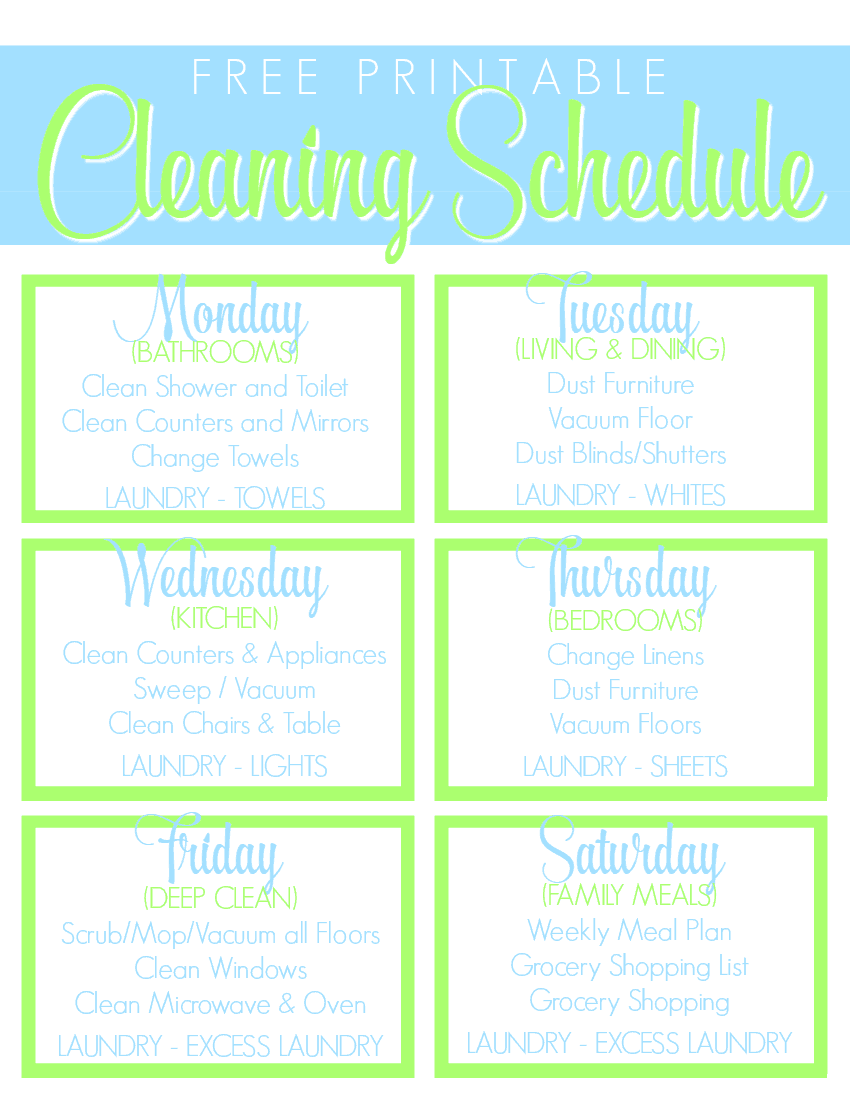 Free Printable Cleaning Schedule Get the House Clean Freak Clean – Cleaning Schedule