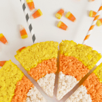 Easy Candy Corn Rice Krispies Treats