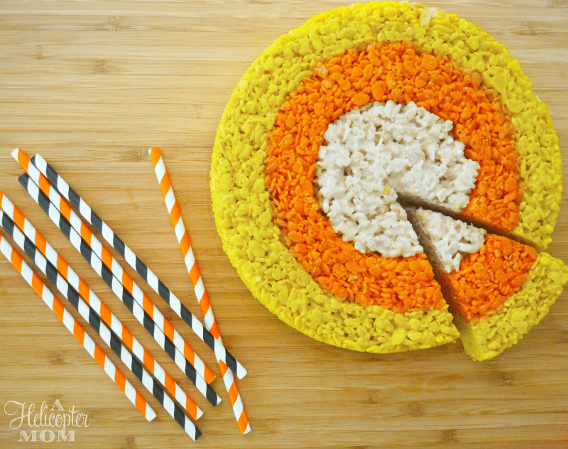 Easy Rice Krispies Treats for Fall - Candy Corn