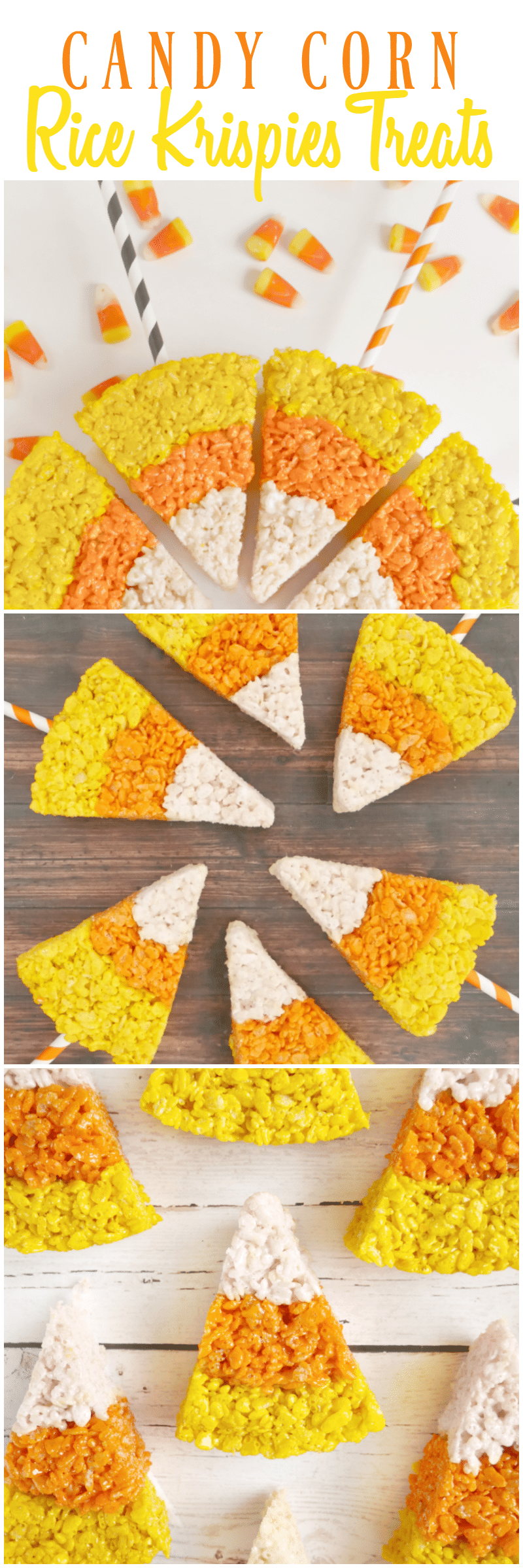 Candy Corn Rice Krispies Treats - these are a HUGE hit with kids and adults!