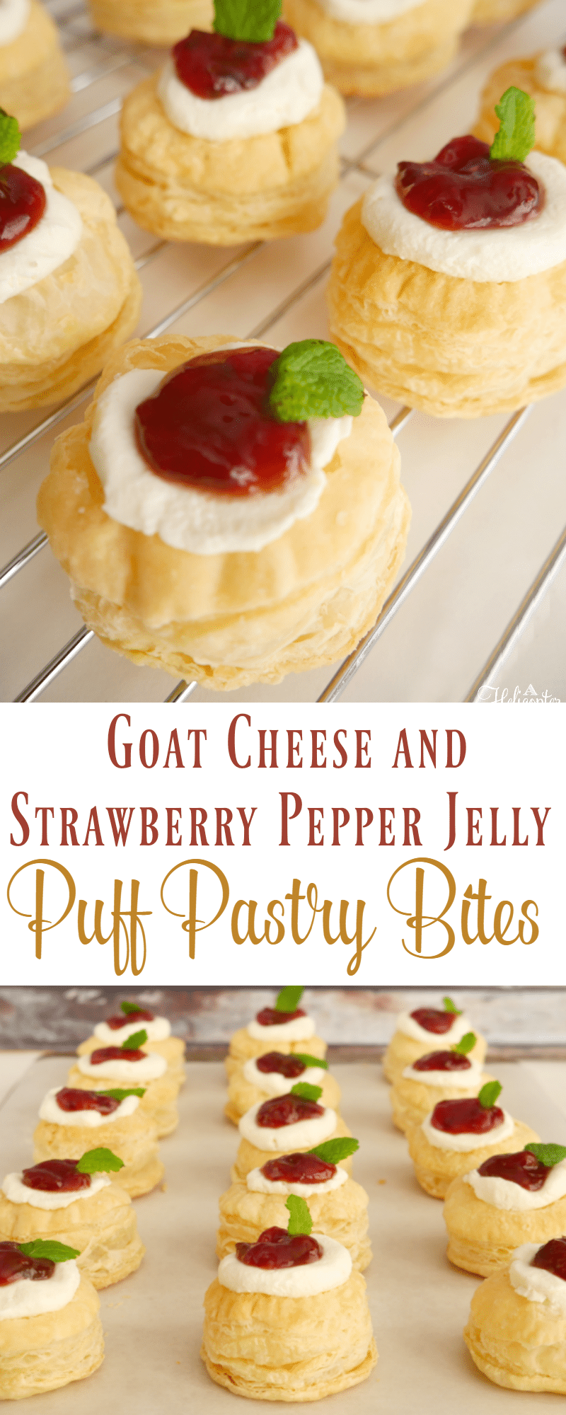 Goat Cheese and Strawberry Pepper Jelly Pastry Puff Bites