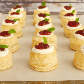 Goat Cheese and Strawberry Jalapeno Jelly Pastry Puff Bites