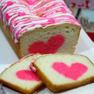 Easy Valentine's Day Vanilla Strawberry Heart Cake