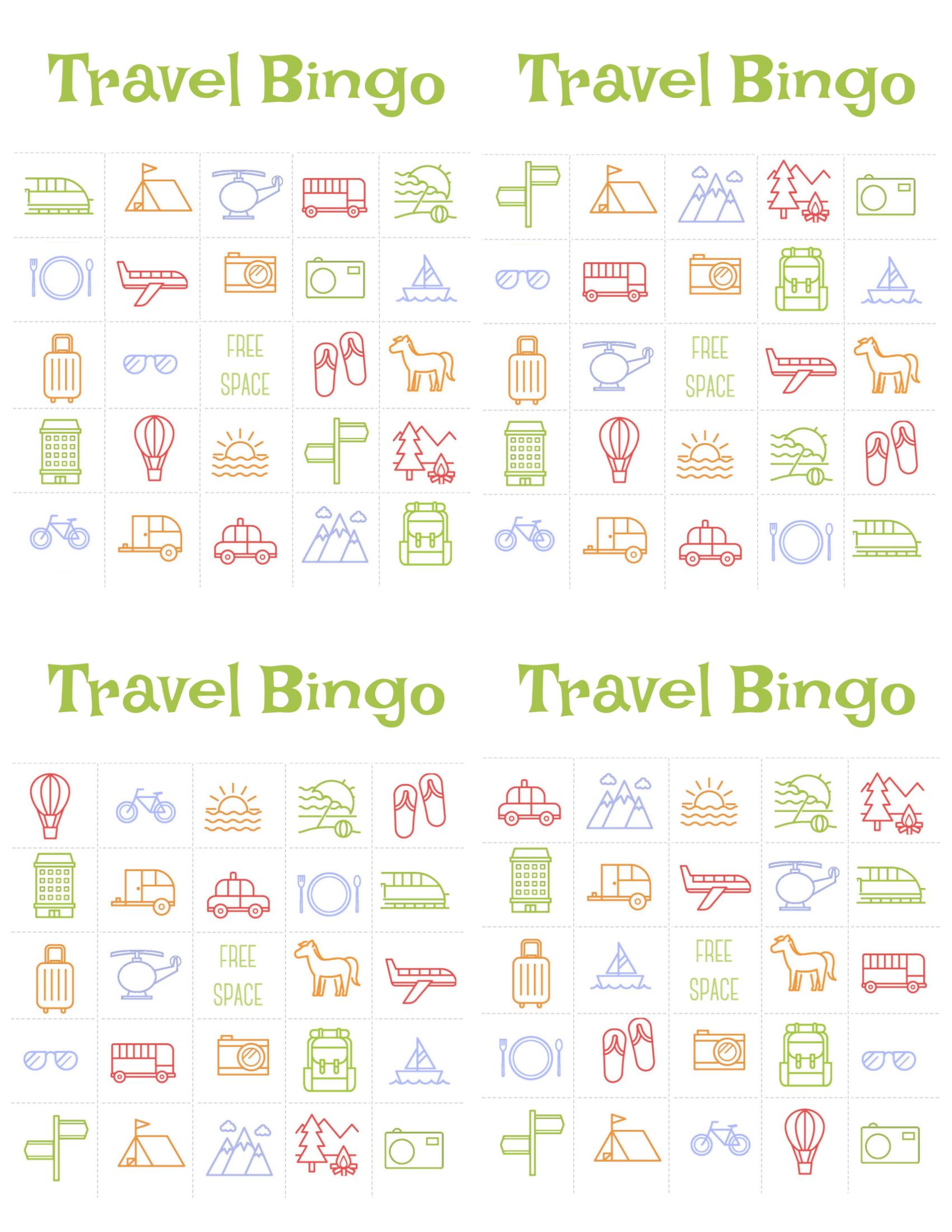 This is a graphic of Remarkable Printable Travel Bingo