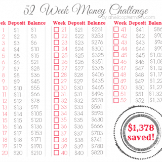 52 Week Money Challenge Printable