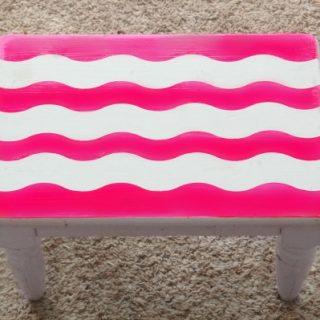 Easy DIY Custom Painted Stool – Shape Tape Design