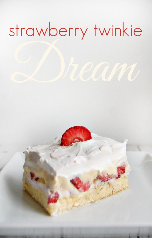 Easy Strawberry Twinkie Dream Recipe - This no bake dessert only takes minutes to make and is crazy good!