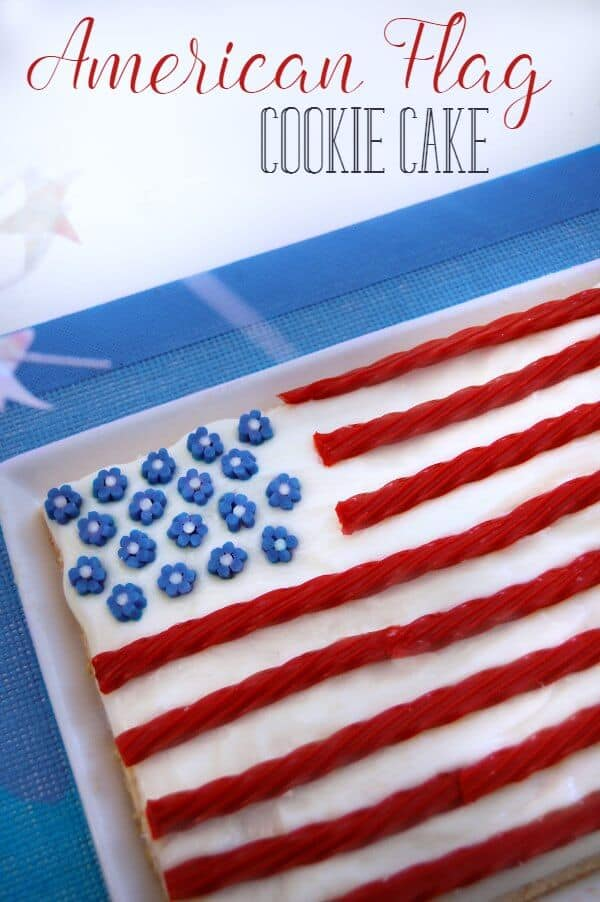 Easy American Flag 4th of July Cookie Cake
