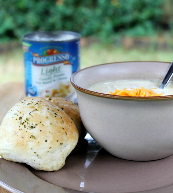 Stuffed Mozzarella Garlic Rolls with Progresso Soup