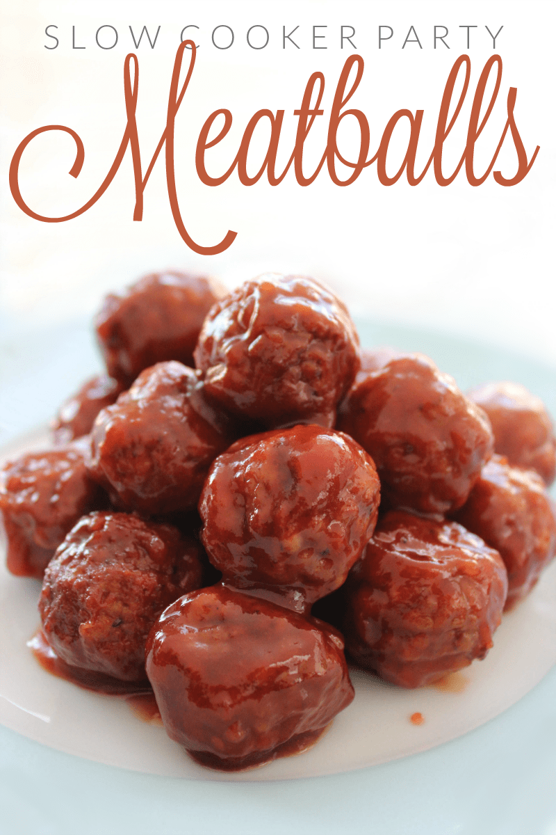 These Slow Cooker Party Meatballs are always a huge hit when we have company! They're perfect for potlucks, game day, & as a delicious appetizer at parties.