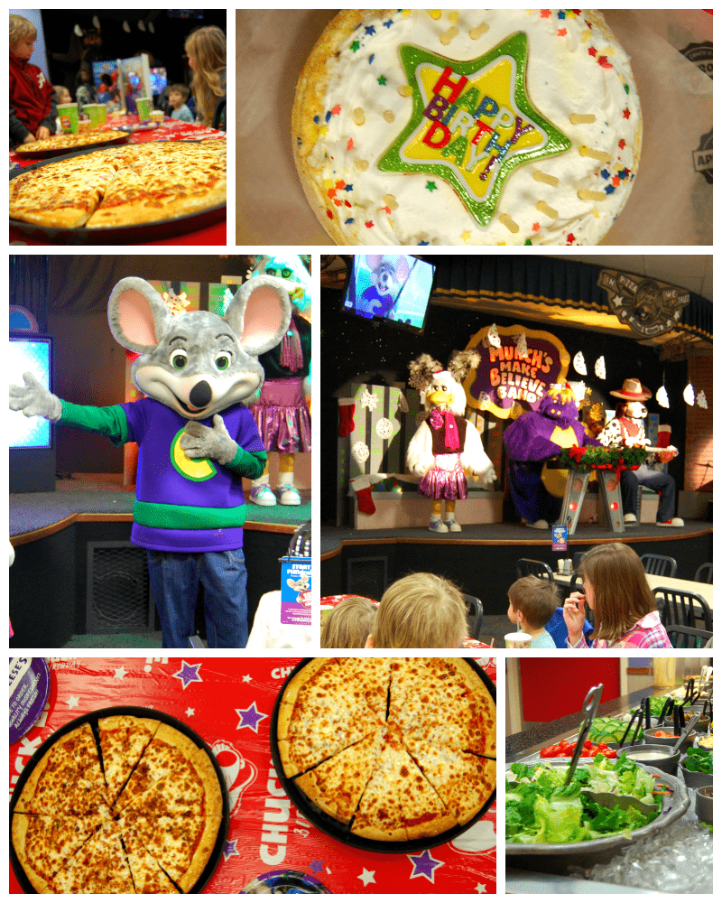 Chuck E Cheese Pizza, Salad, Cake and a Show
