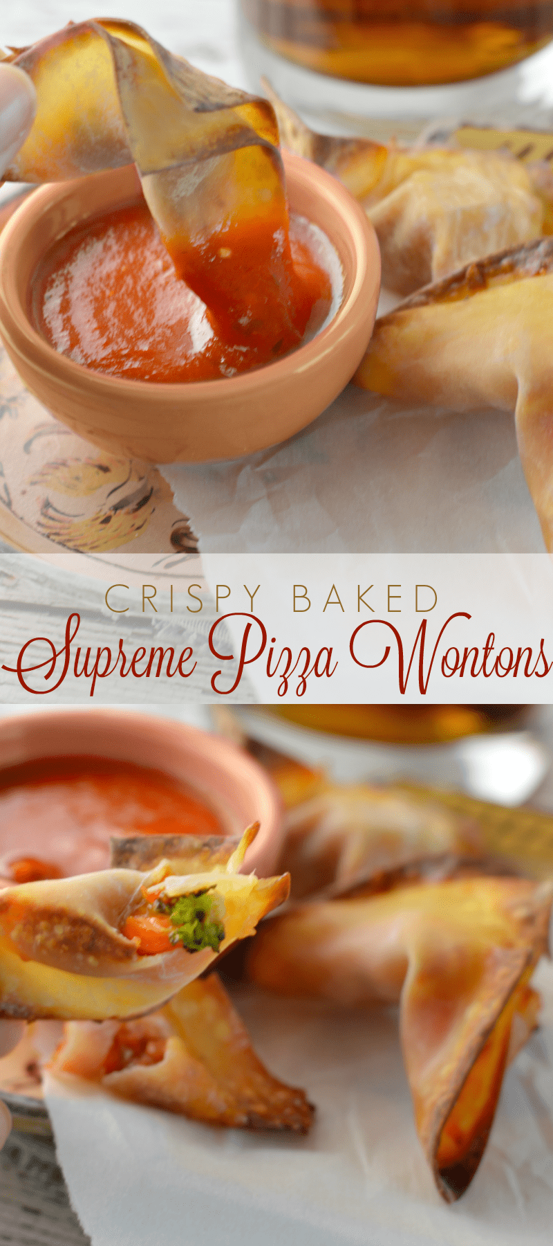 Easy Crispy Supreme Pizza Wontons - easy to make, bake and serve. These are a huge hit every time we make them. So good!