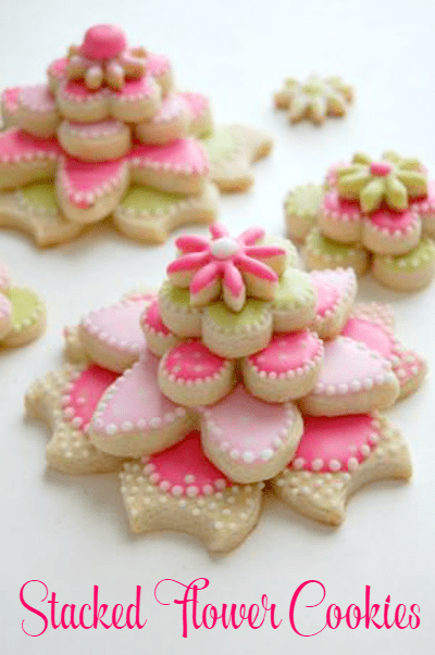 Stacked Flower Cookies Recipe - Cookie recipe plus tips and tricks to cut out and decorate! Love these!