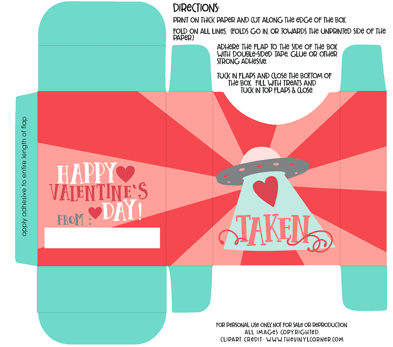 Valentine's Day Free Printable Box for Treats - A Helicopter Mom
