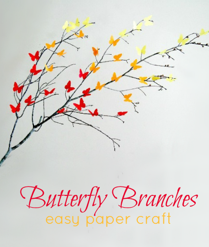 Easy Paper Craft Ideas - Butterfly Branches