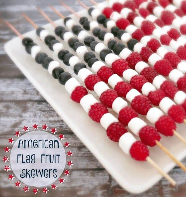 4th of July American Flag Fruit Skewers Easy Treat
