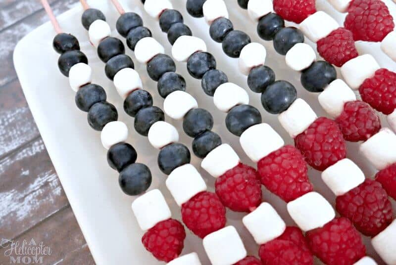 4th of July Desserts - American Flag Fruit Skewers - Easy Independence Day Treats
