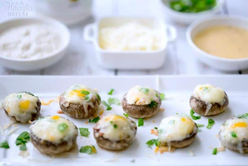 Cheese and Bacon Stuffed Mushrooms Recipe on A Helicopter Mom