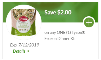 Save $2 on any ONE (1) Tyson Individually Frozen Dinner Kit